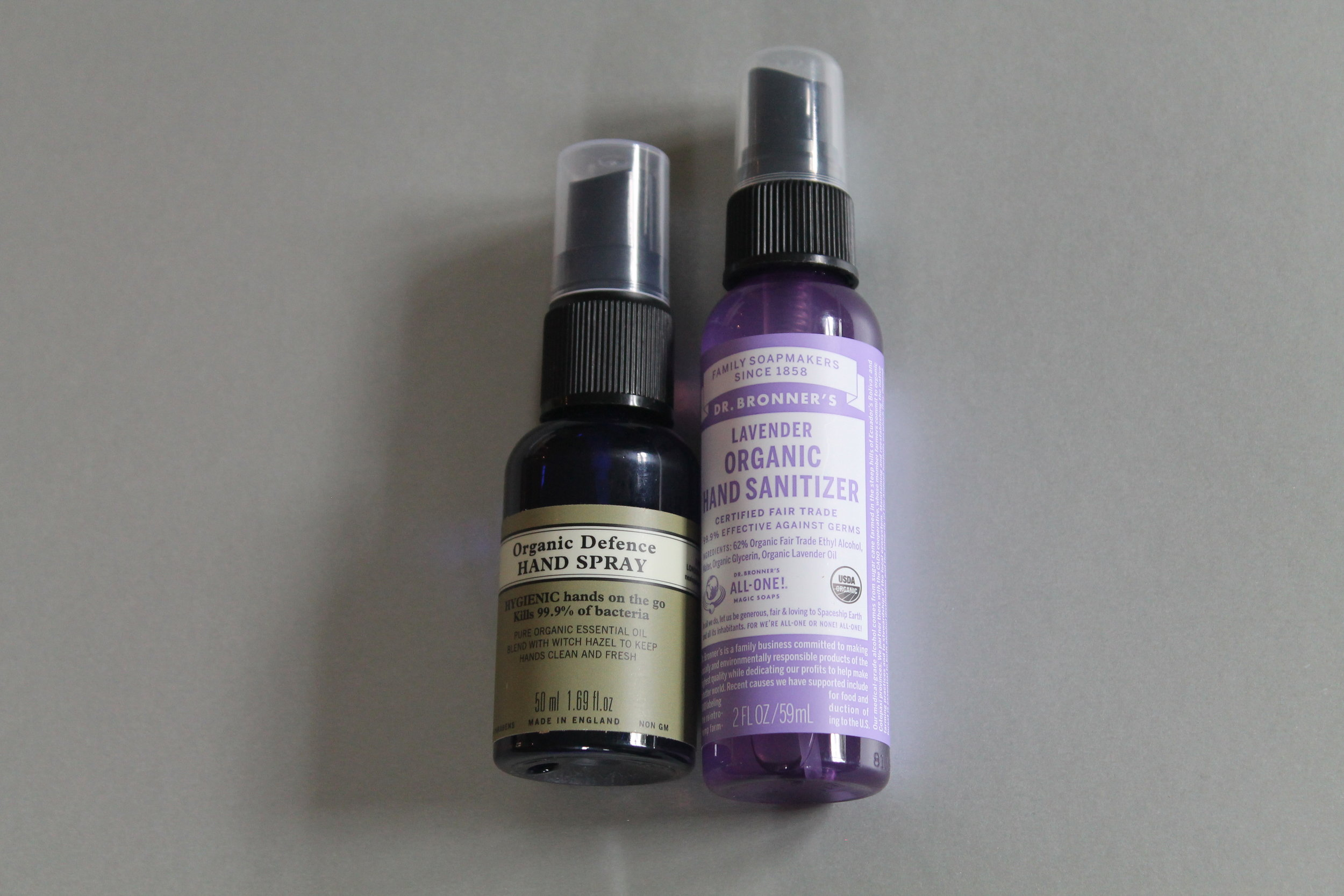 - Neal's Yard Organic Defence Hand Spray and Dr Bronner's Lavender Organic Hand Sanitiser
