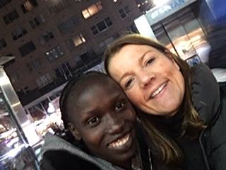 Me and Vivien Cheruiyot, the female winner of this year's London Marathon.