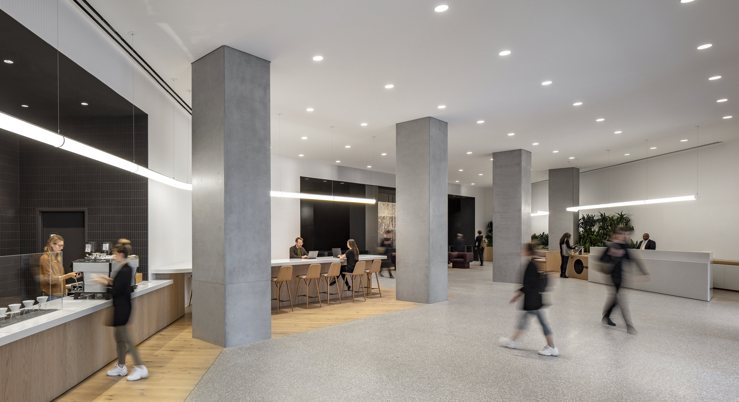 Tenants and visitors have their choice of activity at the new lobby for 75 Varick Street.