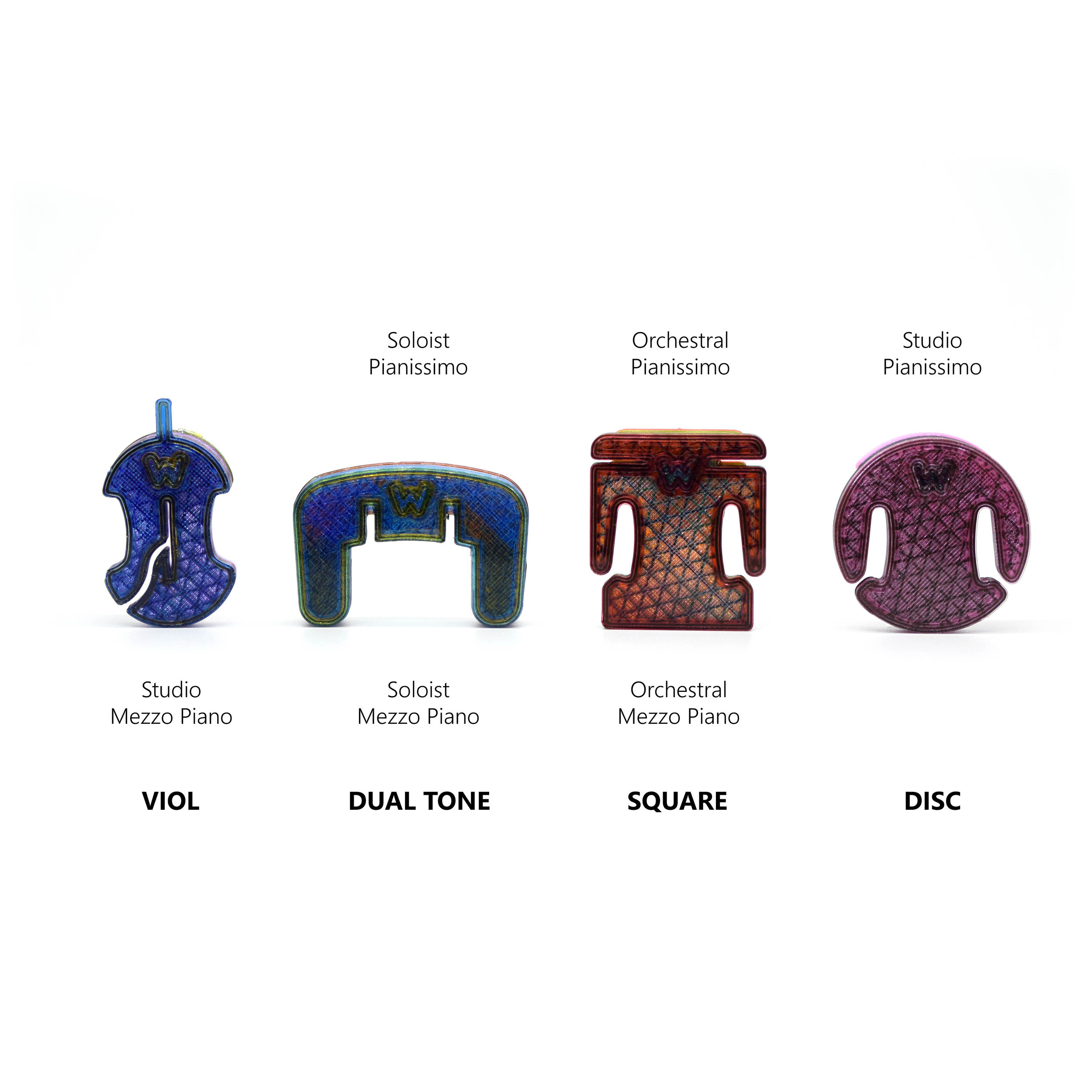 *Start by choosing one or more base models for customization. Specify up to  6 colors  to be blended into your custom batch of mutes. 1-2 initials may be 3D-printed into the mute or a simple insignia. Some technical limitations apply. Acoustic effect and mute physical shape may be modified for an additional fee. All autograph mute sales are final.
