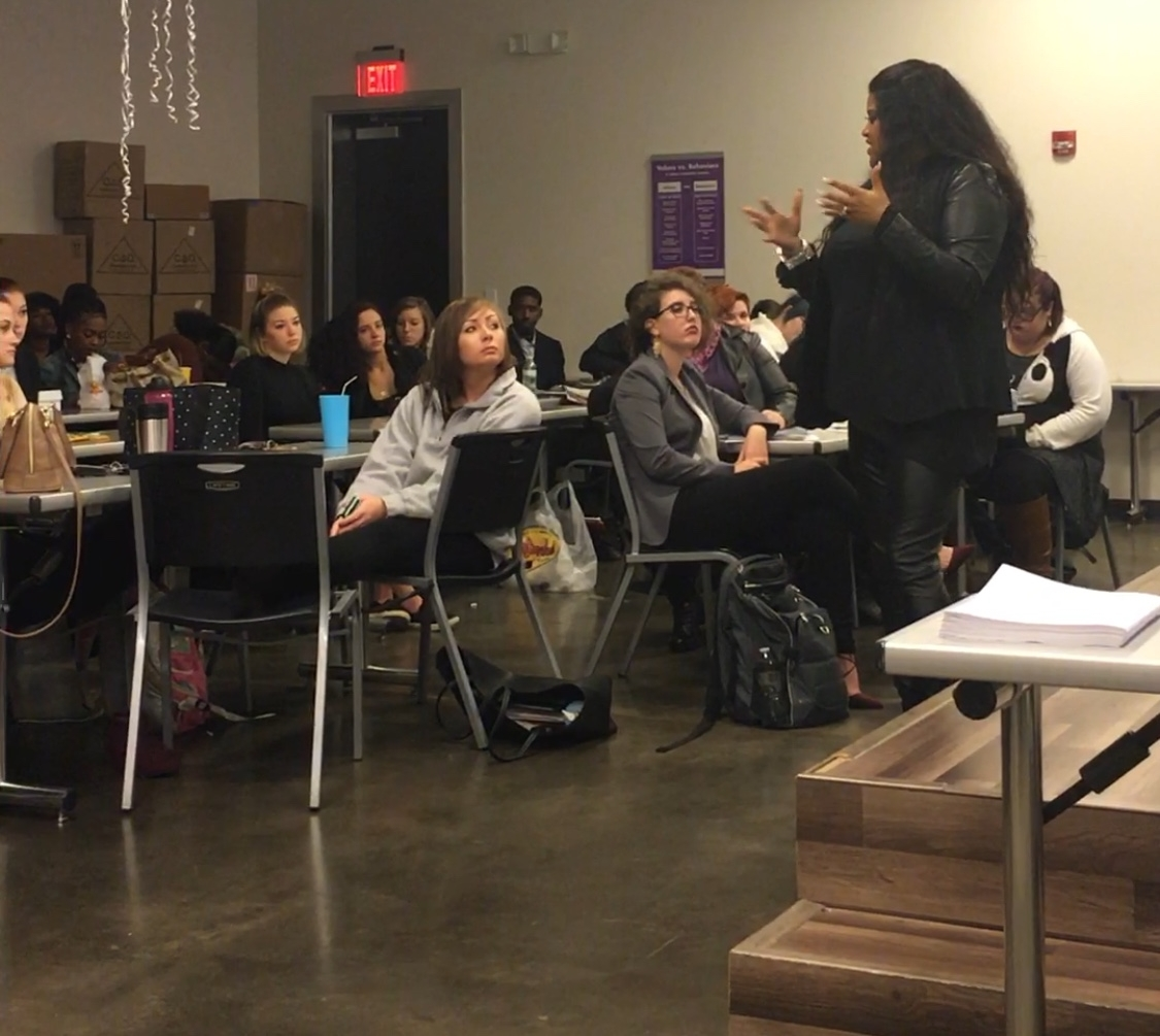 Jessica speaking to a class at a local cosmetology school...Columbia, SC