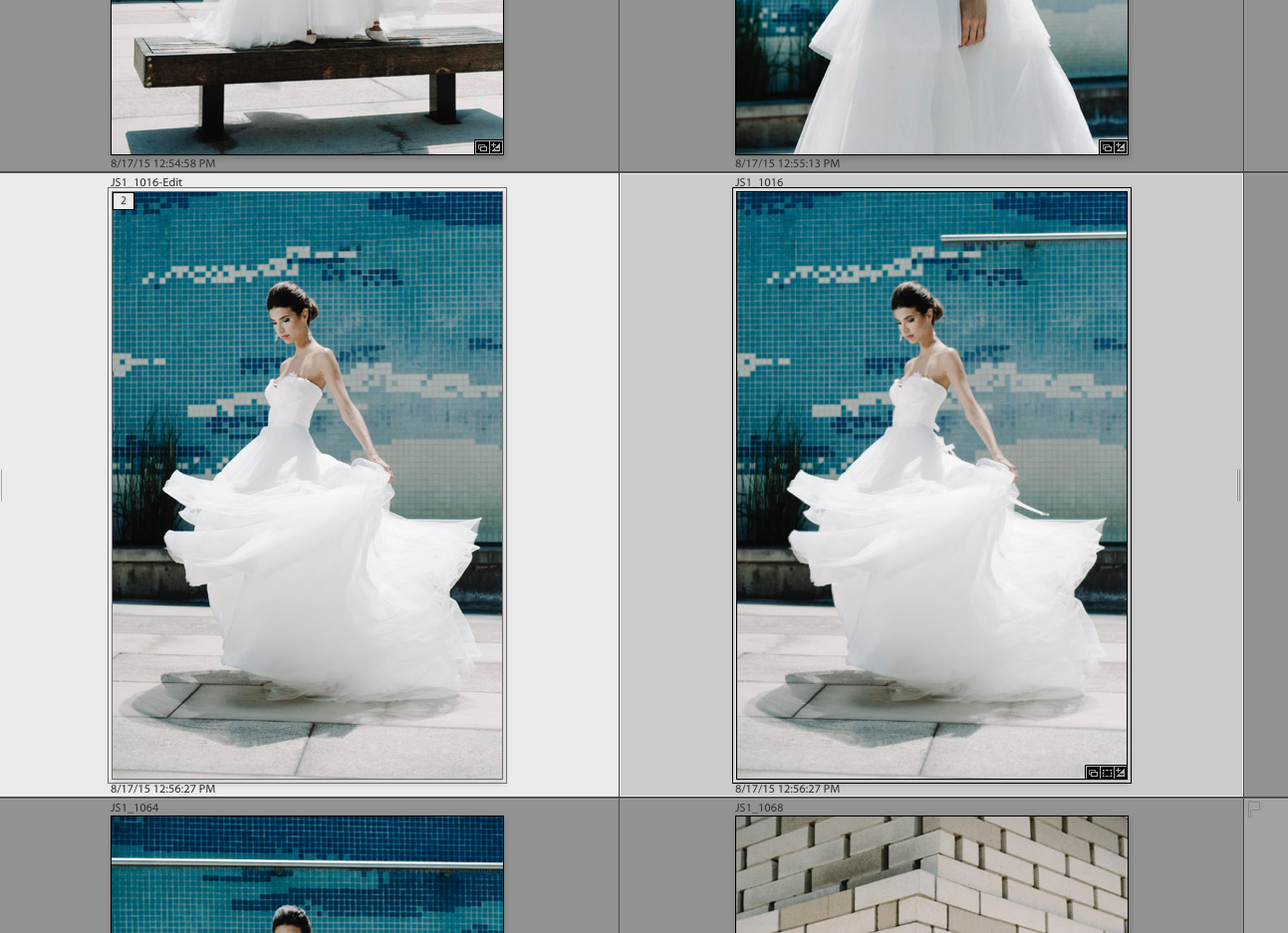 "The edited PSD (left) and the Lightroom-edited RAW file (right). Notice the edited PSD has ""-Edit"" appended to the file name."