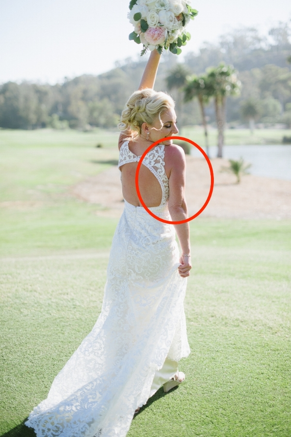 In the circled area, the bride's shoulder and arm area recorded with a very red tint under this lighting situation.