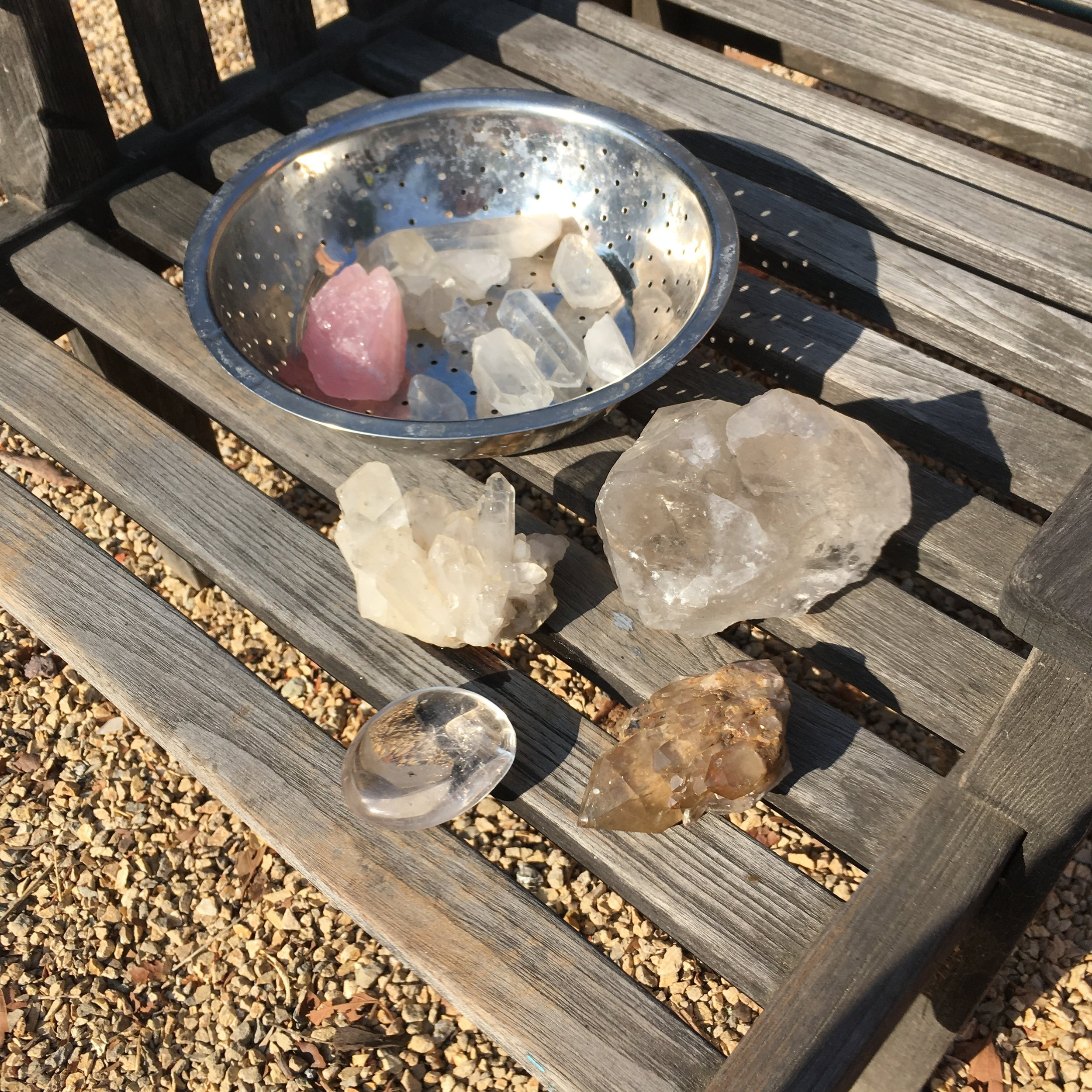 crystals - drying in the morning sun after their bath