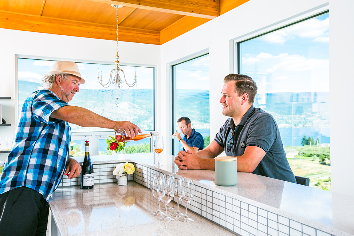 The Tasting Room - Nestled next to our winery, our tasting room offers the delicious wines from our estate-grown, organic grapes and spectacular views of the Okanagan.Learn More