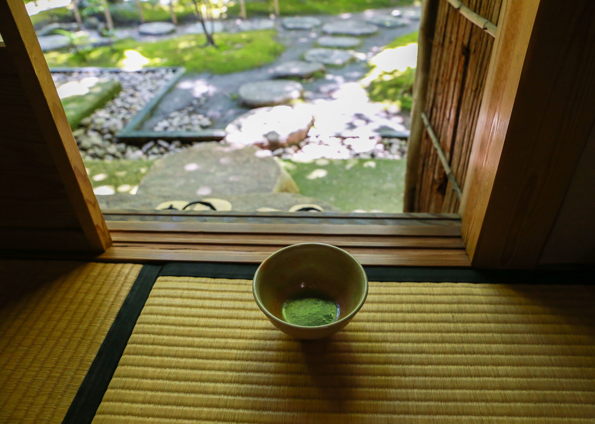 "Matcha tea sits in a ""chashitsu"" or traditional tea room in the Rakusui-en used to greet visitors in tea ceremony in Fukuoka, Japan, June 22, 2018."