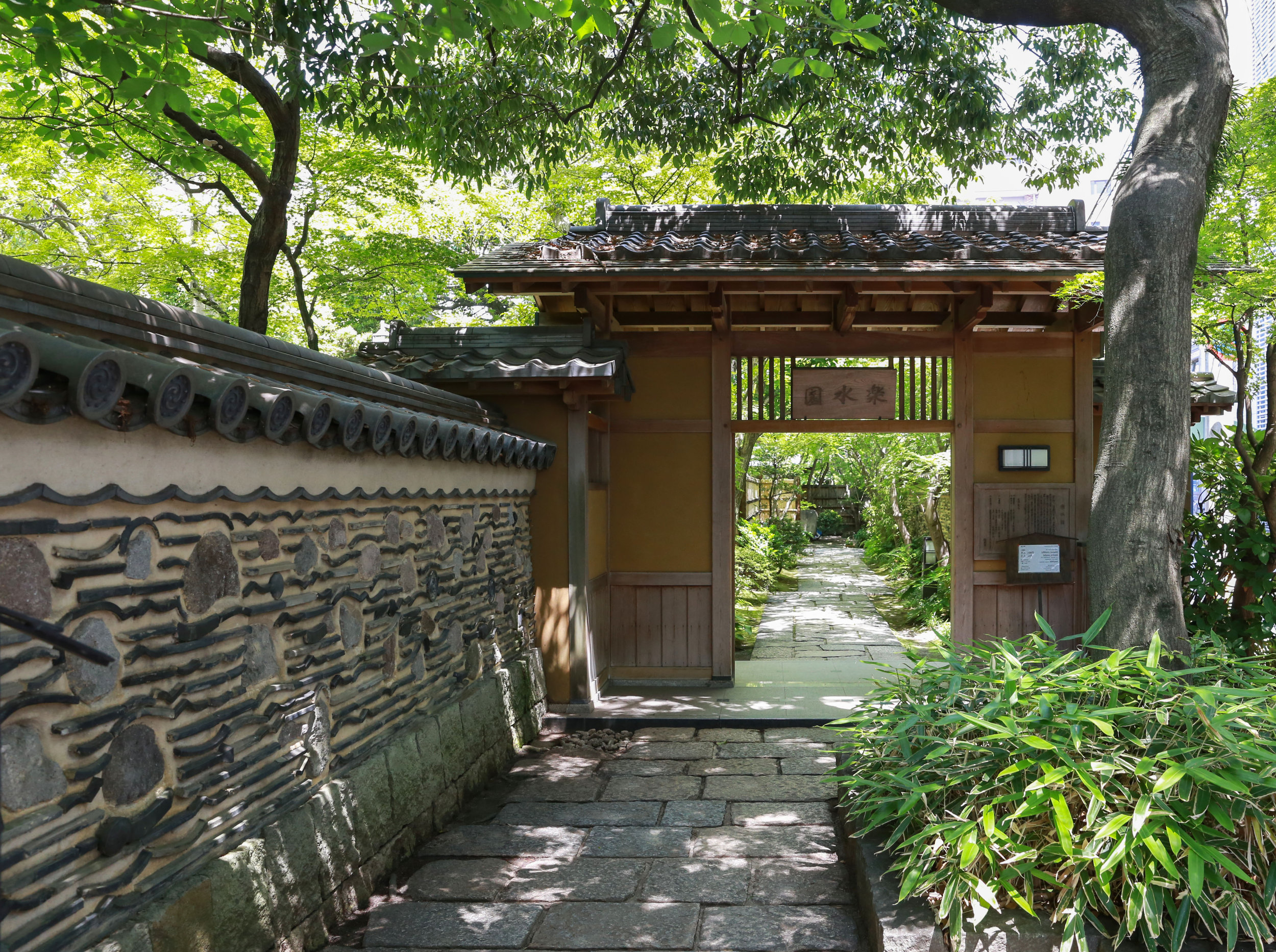 The entry gate of Rakusui-en, a garden and teahouse that was once the mansion of a Hakata merchant 100 years ago, in Fukuoka, Japan, June 22, 2018.