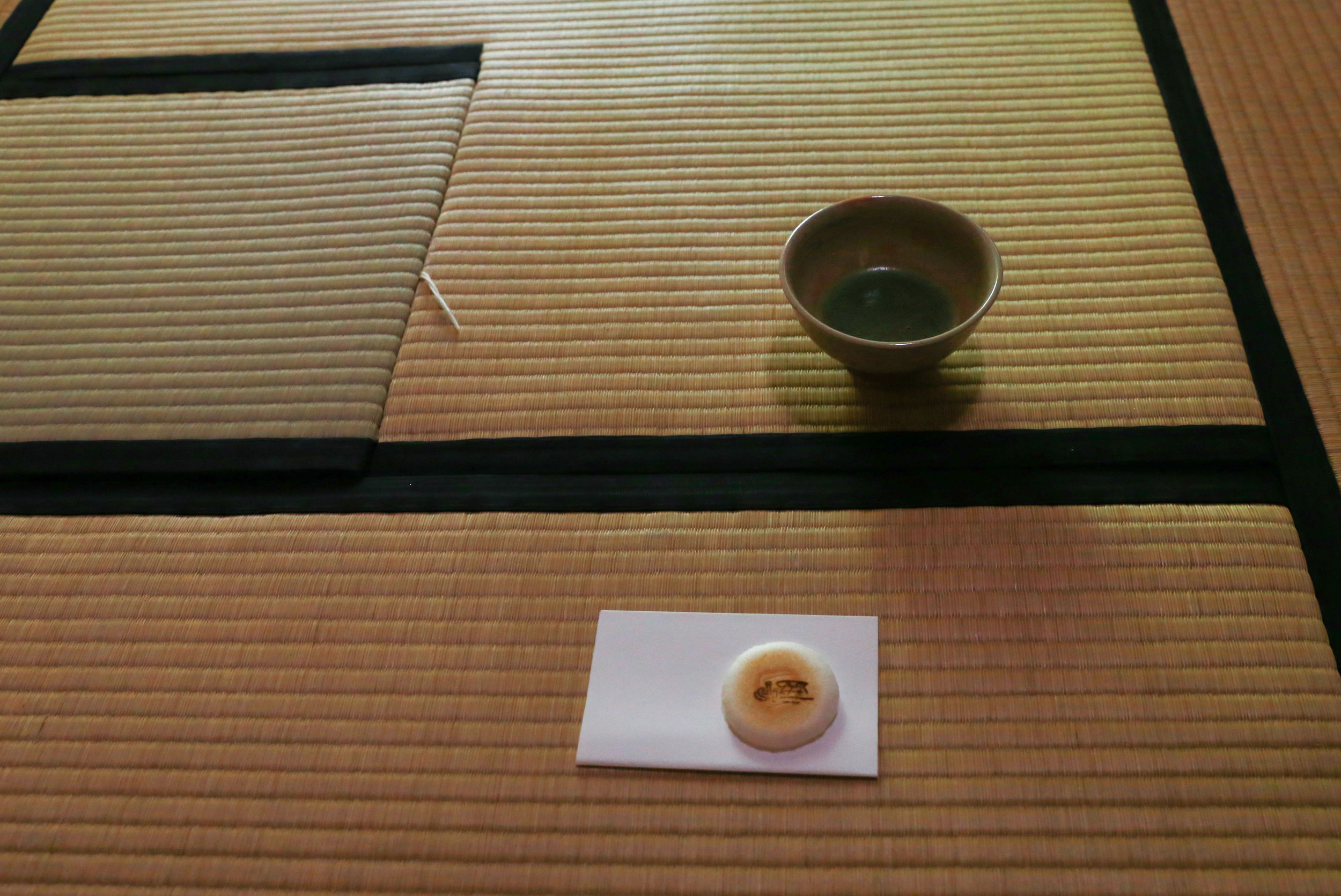 Fresh matcha tea and wagashi sit out in a tea room in Fukuoka, Japan, June 22, 2018.