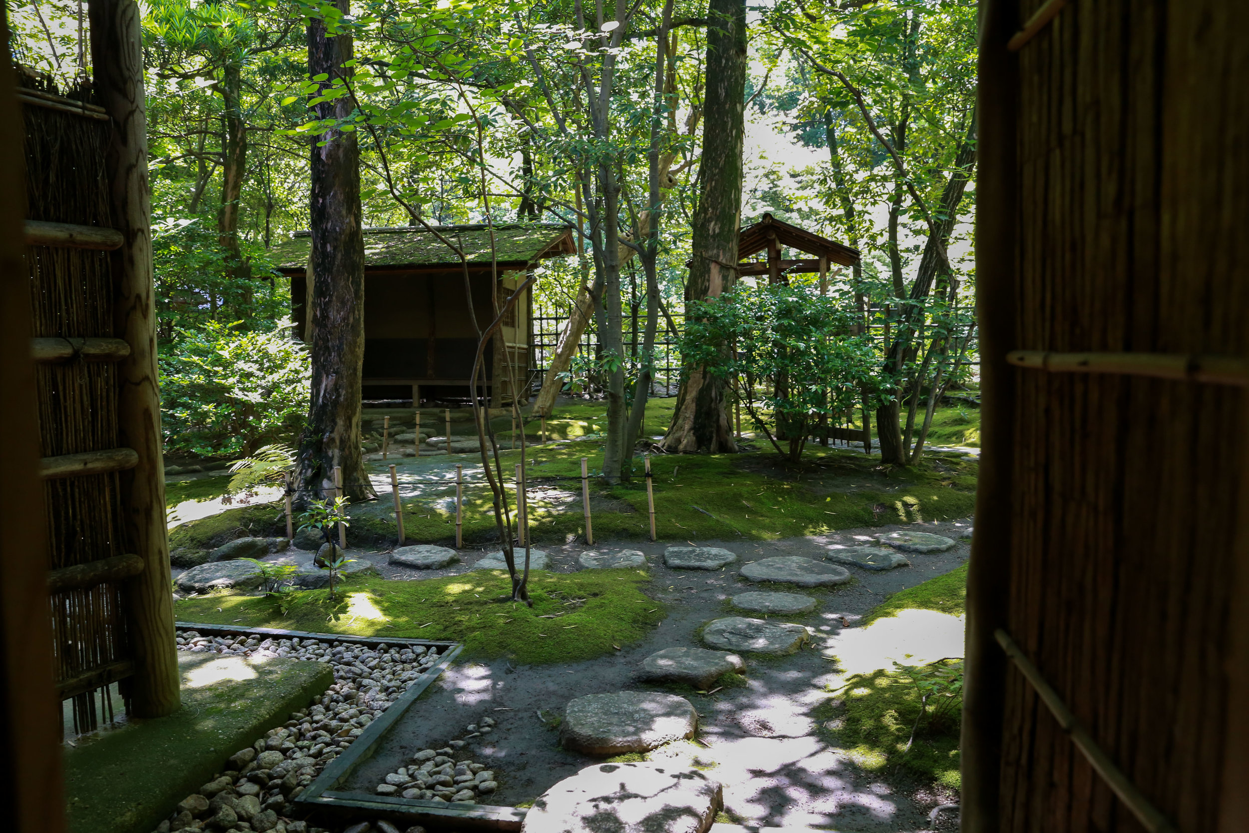 The private tea garden avalible to tea cermony participants at the Rakusui-en in Fukuoka, Japan, June 22, 2018.