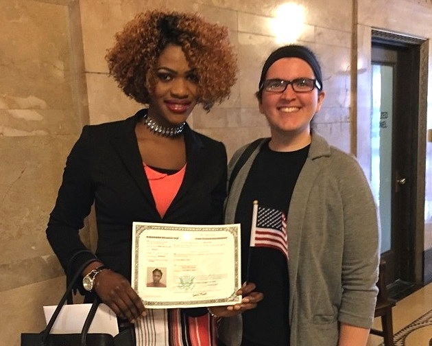 Our citizenship teachers and case managers are dedicated to assisting clients through the naturalization process. - Pictured: Layla Banaie, Volunteer Coordinator and Citizenship Teacher, with client.