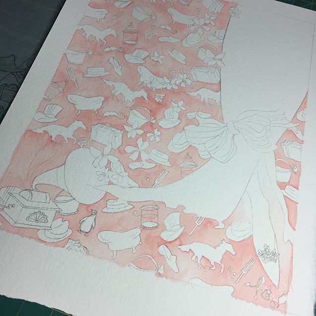 i went with a beautiful subtle pink wash for the background of this piece. the first step is transferring down the drawing, and then painting around all of the shapes with the same background colour…