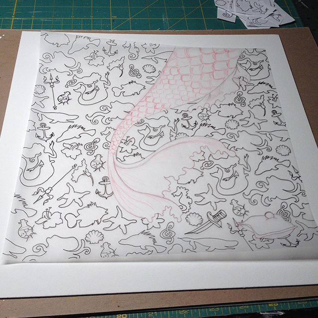here's the full background pattern once all the icons have been traced– ready to transfer to illustration board!