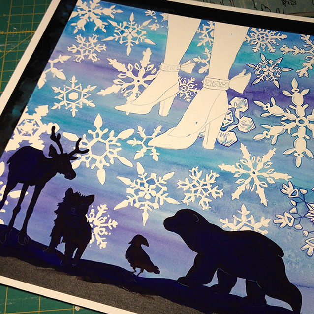 once the background was dry, i removed the resist and painted in the animal silhouettes. (in real life they are beautiful– subtle fur and variations of midnight blues and deepest purples.)