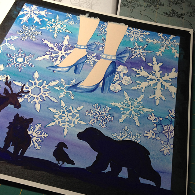 shoes are almost done here… and i added shadows and details to the snowflakes for depth and variety.