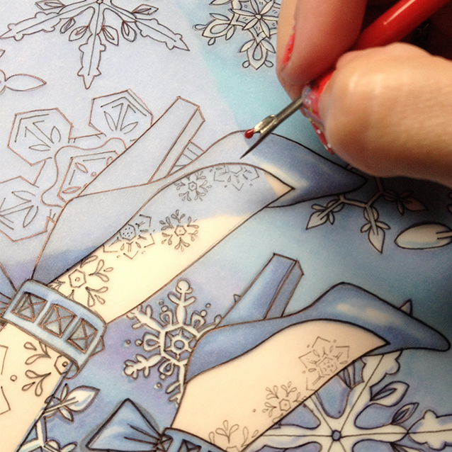 i gave the snow queen some intricate snowflake tattoos on her legs just for fun. so tiny that i had to use a seem ripper to transfer them before tracing them with metallic ink for a finale.
