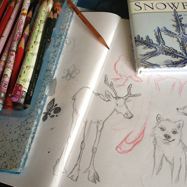 lots of fun sketching of arctic animals and snowflakes before beginning this piece…