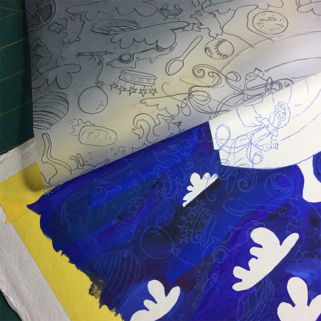 once the sky paint had dried, i taped my tracing paper pattern on top, put blue transfer in between the layers, and re-traced my shapes to leave a thin blue line for each of the background elements to fill in on top with more colorful paints.