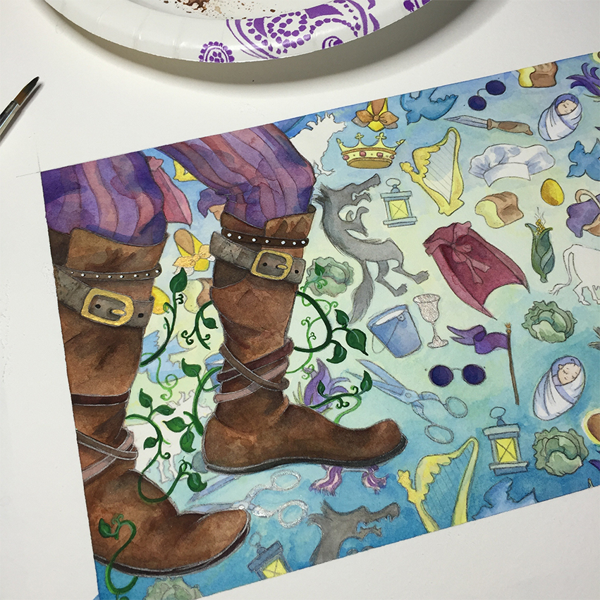 here's a better detail of the giant's boots & pants. i'm quite pleased. and i know the giant's wife didn't step ON the baker's wife, but i did put her scarf below his left foot. because: symbolism. drama.