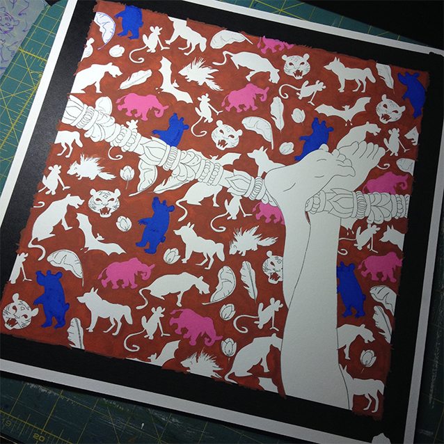 once the background is done, i paint in each icon its own colour of gouache. baloo is the blue bear you see, and i painted hathi the wild elephant a bright pink, sticking with traditional indian colour schemes.