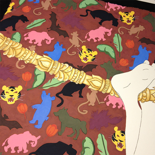 the rope i put mowgli hanging from is actually temple bells– integral to his adventures. but in real life, probably not the most comfy to hang by your ankles from. but that's why it's art!