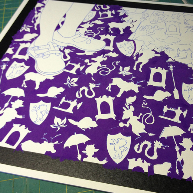 painting in the background with very purple gouache– painting around every single icon!