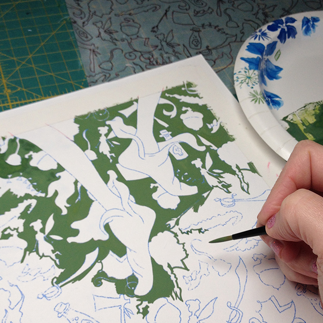 you gotta start somewhere… so we fill in the background with green gouache around all the icons and peter's feet first…