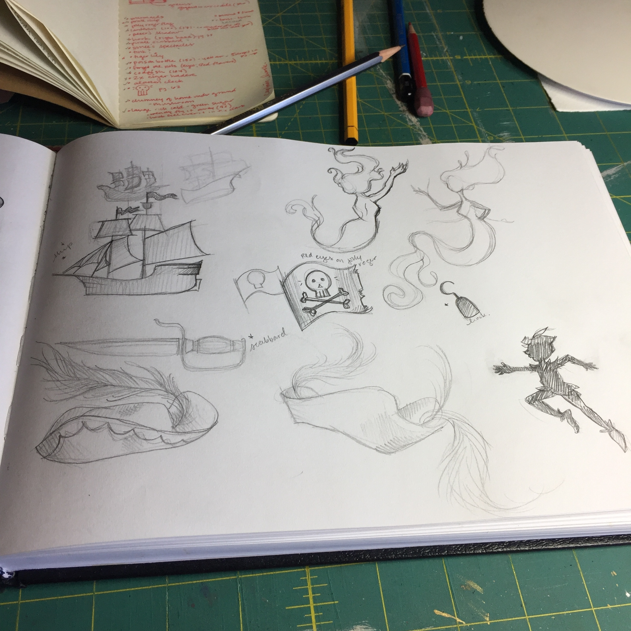 once i've done my original-tome research, i'll usually head to all the adaptations i can find for inspiration and brain-stirring ideas.  so i'll sketch those elements i wrote down in my moleskin that might make it into the final piece.  here, searching for the perfect jolly roger silhouette, peter's shadow, the hat, some mermaids, his hook, and the jolly roger flag!