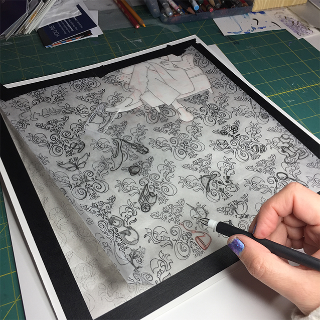 so here's me re-tracing/transferring down my drawing to the illustration board.