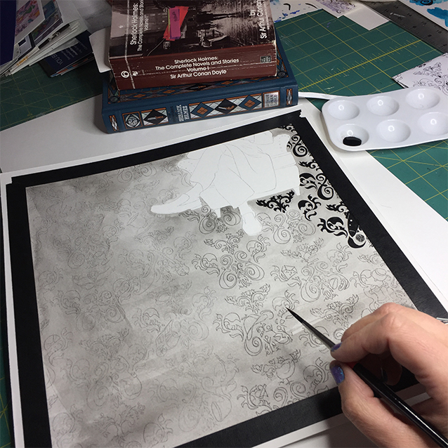 once i had a light grey line for the image, i started in the top right corner and started filling in the pattern and imagery with a very fine brush and a petite vat of india ink.