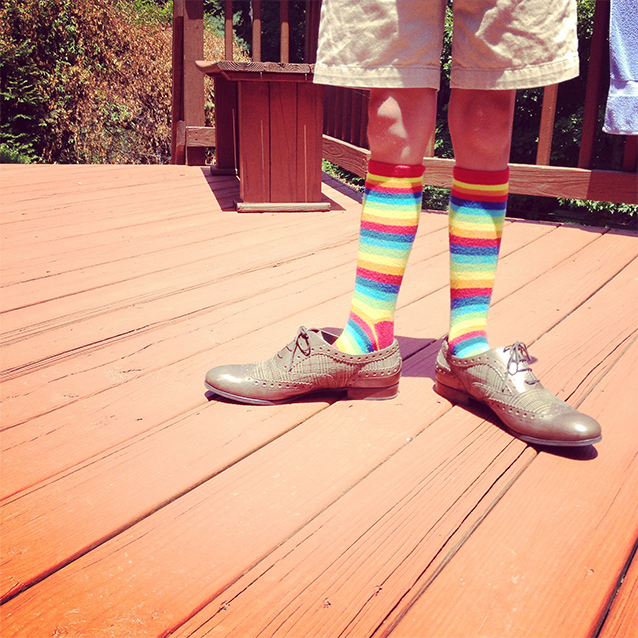 my niece kathryn, modeling for pippi in my socks and shoes for that dramatic wrong-size feel. i bought her ice cream {with sour gummi worms} later.