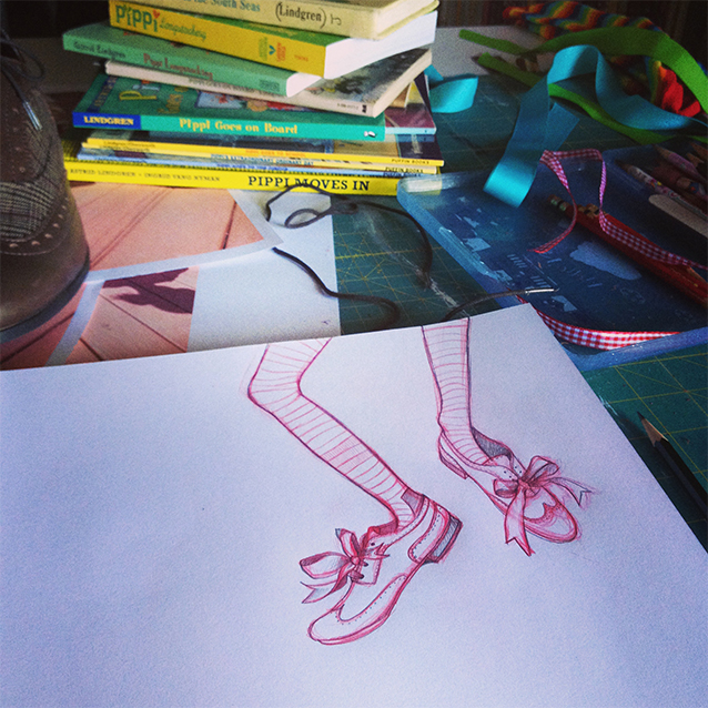 pippi feet! a lil' more in action than my model reference, but just as much character.