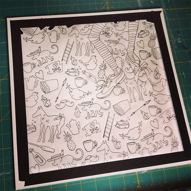 the final background pattern ready to be transferred to illustration board.