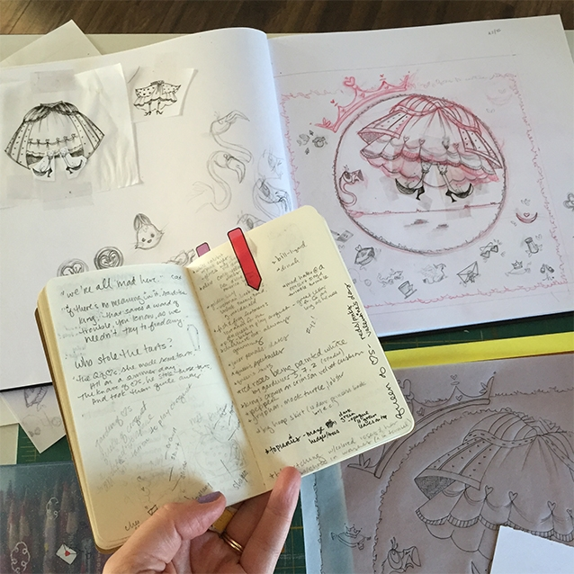 i take lots of little notes in my moleskin. and my countless alice books are riddled with sticky tabs for phrases or illustrations i want to reference.