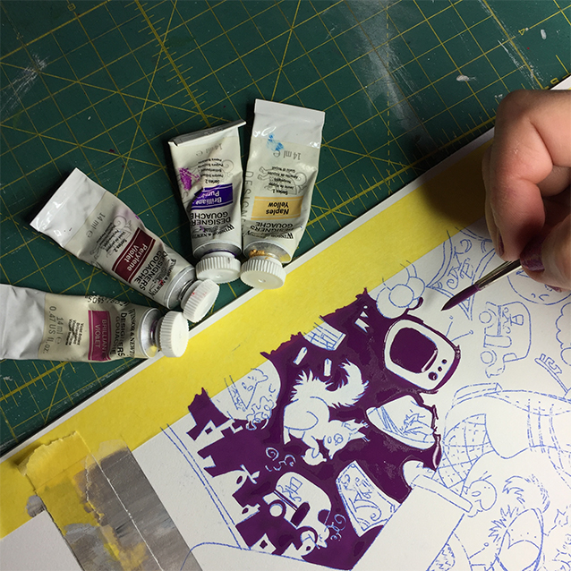 after i use a bit of transfer paper to re-trace my pattern drawing onto my illustration board, i always start by filling in the background colour first, taking hours upon hours to paint around each shape and figure, getting a consistent colour down before painting any of the icons. seen here are the four gouache colours of paint i mixed to make this delightful purple background colour!