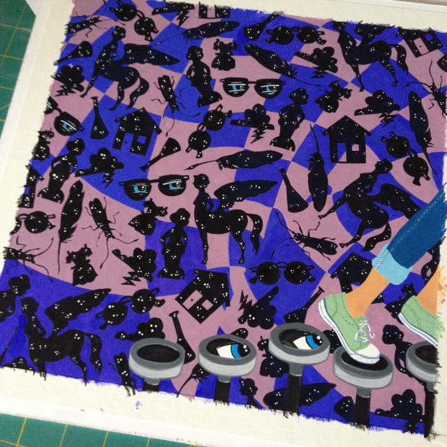 and nearly done with the feet, typewriter keys, quilt, and adding stars seen through the shapes.