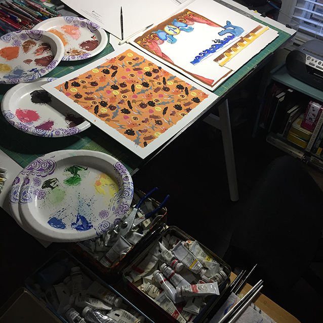 here's a view of my tins full of gouache tubes and the pieces all painted and read to be framed together in 3d…!