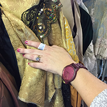 me (& my lovely new  JORD watch !) browsing today at  costume curio — YES, i found my storybook costume for opening nite of  step into story !! who shall you be?!