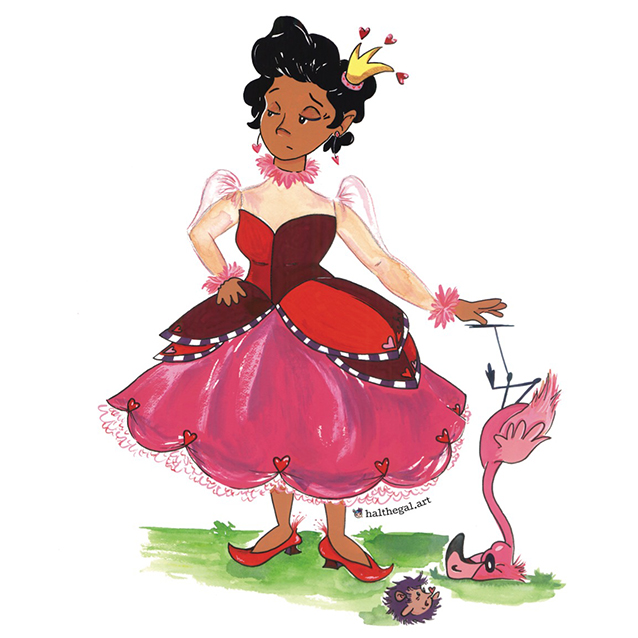 here's what our final queen of hearts illustration looks like!! (i think i love the flamingo the most; or her shoes; or maybe the shade she's giving… ha!)  be sure to collect the sticker!!