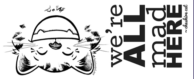 this is the final line art with text for the cheshire cat zipper pouch!! i love it so much!! ;D