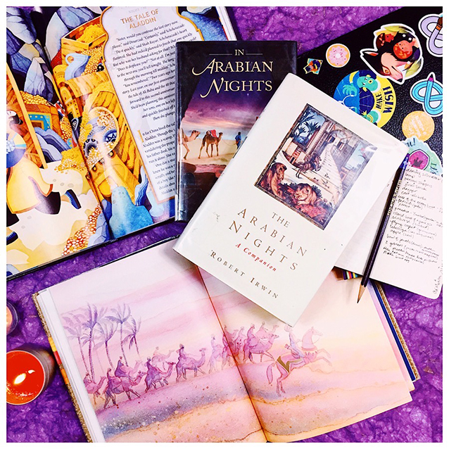 "i started out reading a faerie tale collection that boasted it was ""aladdin and the arabian nights"" in october of 2018 or so. the story was so awful (bless disney for making it adorable and PC), that i of course delved deeper and deeper into the history of the arabian nights and the broader scope of stories from the silk road and what came to be known as scheherazade's ""1001 arabian nights."""