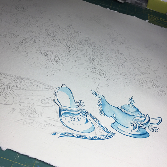 starting to add colour! i wanted to keep it monochromatic. i lasted for a while… ;D i painted everything in layers of washes of bombay india ink in turquoise from dr. ph. martin's.