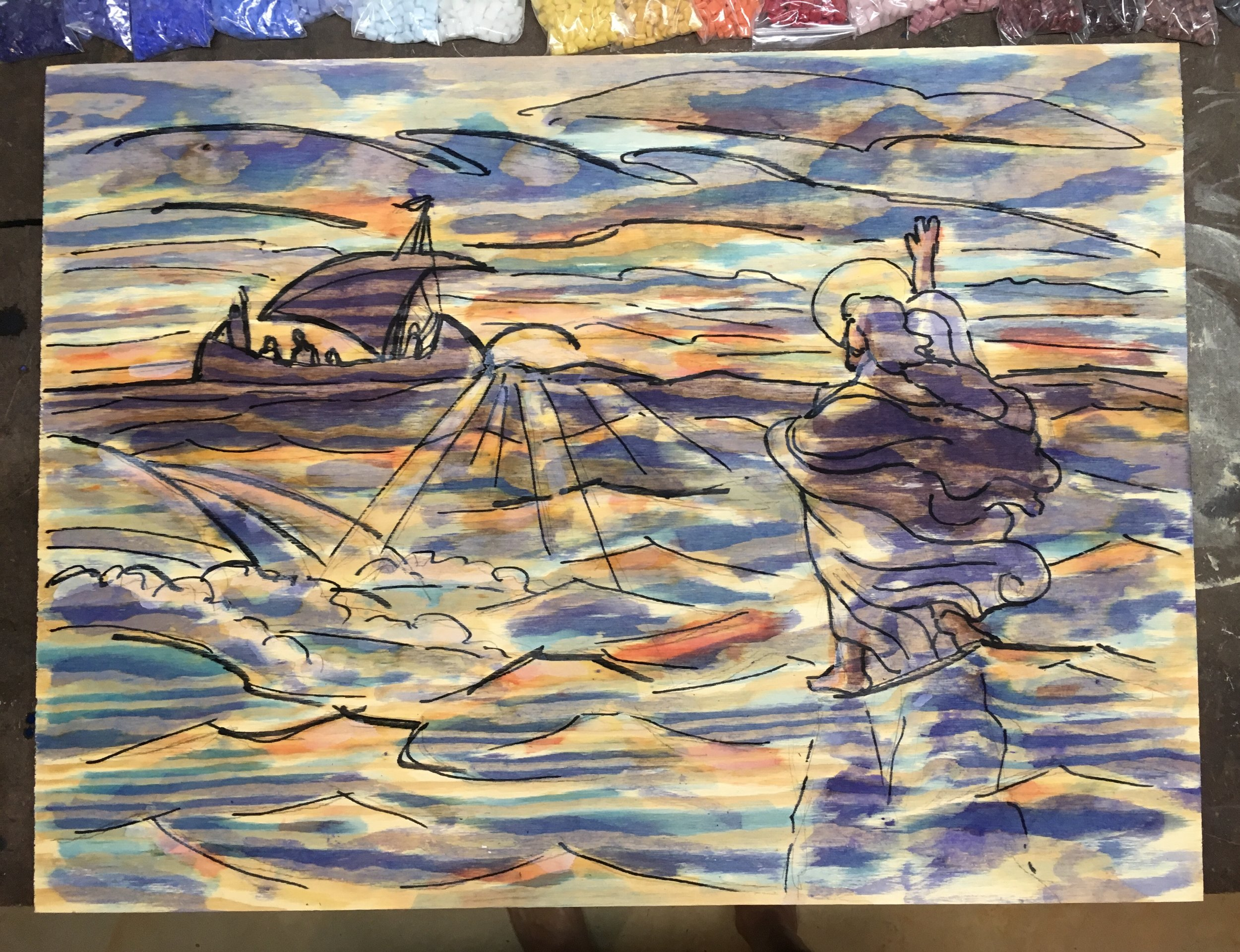 """I started with a marker and watercolor under-painting on 3/4"""" pine plywood."""