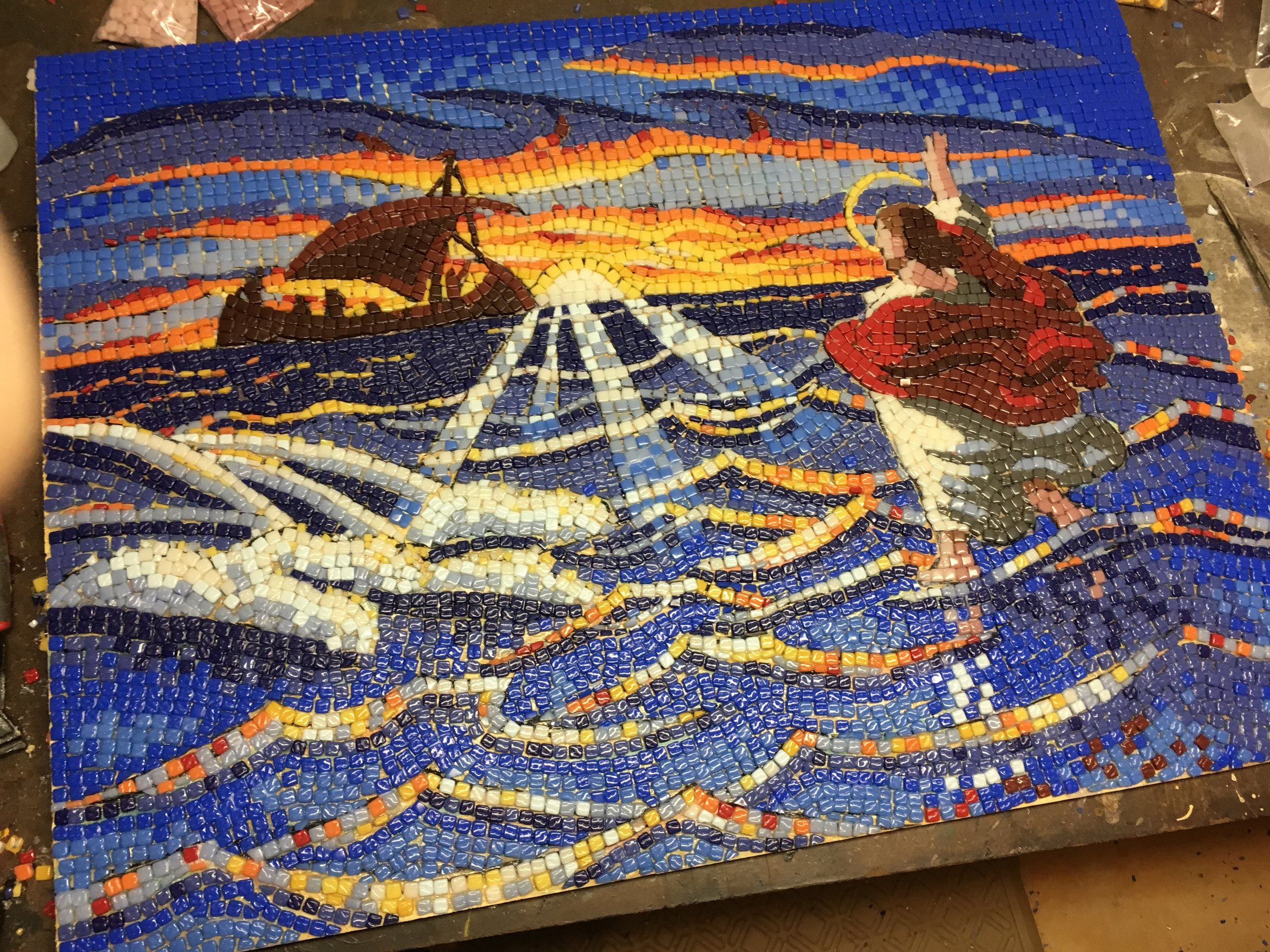 Over 6,000 glass tile pieces were glued one at a time. The final mosaic appears very bright here without the sandy brown grout to dull it down.