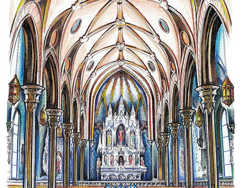 Pen & ink and watercolor painting of St. Boniface Catholic Church, with the ornate alter and spectacular columns.