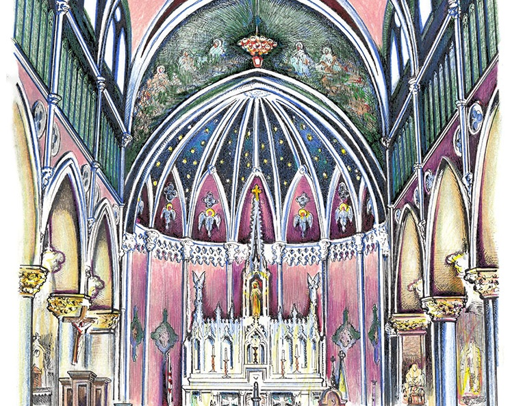 Pen & Ink and watercolor painting of St. Bridget Catholic Church.