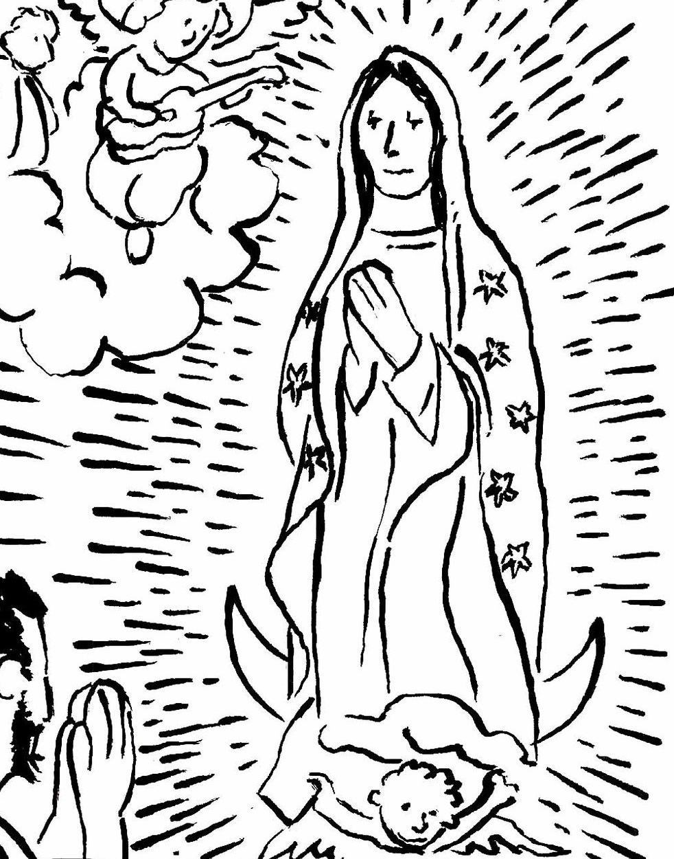 Our Lady of Guadalupe was very moving to render, so I was careful to keep it serious, even if it is a cartoony style.