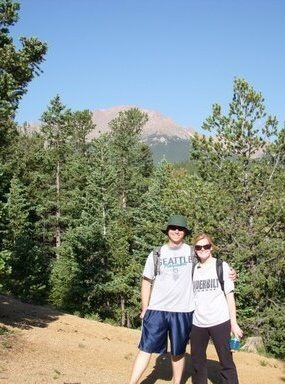 PROOF! A pic of us on that fateful day. Pikes Peak looming like the bitch that she is in the background.