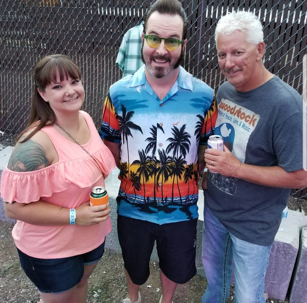 My Dad and I enjoying some backstage action with Aaron, the lead singer, from Reel Big Fish!