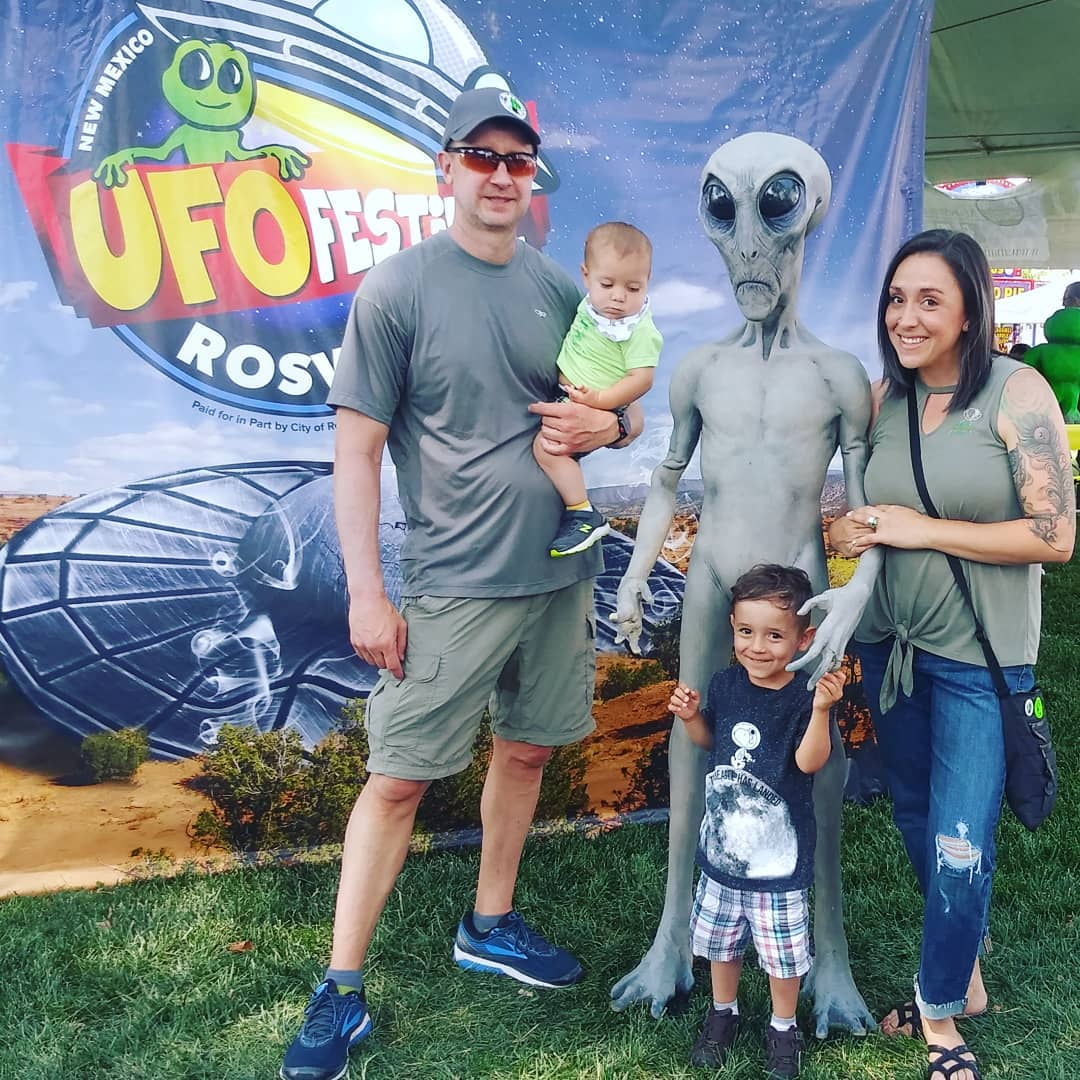 My Daddio, kiddos and I with our alien friend.