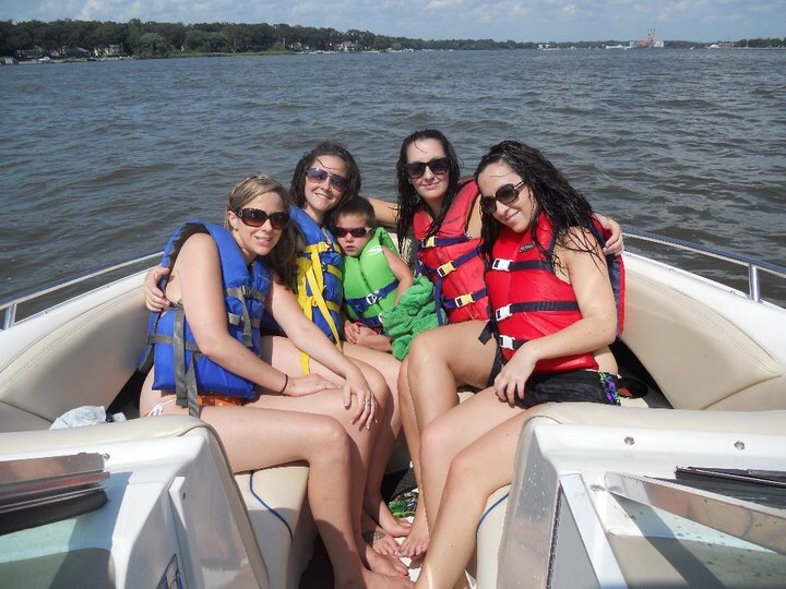 All of us sisters out boating on vacation in MI